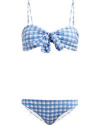 Ganni - Jewett Checked Seersucker Bikini - Lyst