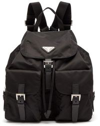 Prada - Classic Leather-trimmed Nylon Backpack - Lyst