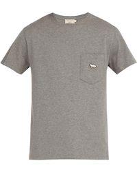 Maison Kitsuné - Tricolour Fox Patch Crew-neck Cotton T-shirt - Lyst