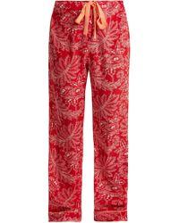 Diane von Furstenberg - Floral Print Silk Crepe De Chine Pyjama Trousers - Lyst