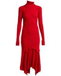 Stella McCartney - Handkerchief Hem Ribbed Knit Dress - Lyst