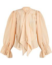 Chloé - Tie-neck Gathered Silk Crepe De Chine Blouse - Lyst