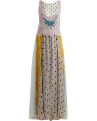 Valentino - Flocked-floral Velvet Dress - Lyst