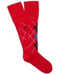 Versace - Checked Socks - Lyst