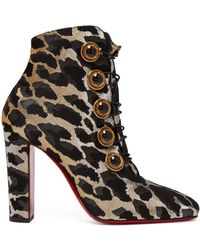 Christian Louboutin - Lady See 85 Leopard Lurex Ankle Boots - Lyst