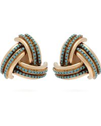 Etro - Crystal-embellished Gold-tone Clip-on Earrings - Lyst