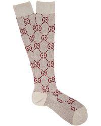 Gucci - Gg Logo Intarsia Metallic Knee High Socks - Lyst