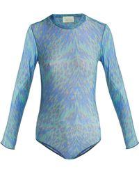 Aries - Tiger Print Mesh Bodysuit - Lyst