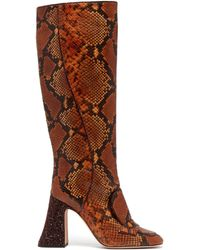 Rochas - Pascal Glitter-heel Faux-python Knee-high Boots - Lyst
