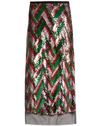 Gucci - Sequin-embellished Chevron Midi Skirt - Lyst