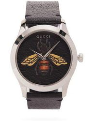 Gucci - G-timeless Bee-embellished Leather Watch - Lyst