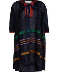 Sonia Rykiel - Tie Neck Embroidered Linen Blend Dress - Lyst