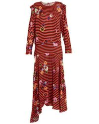 Preen Line - Aaliyah Pansy-print And Striped Crepe Dress - Lyst