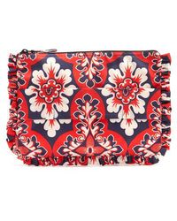 La Doublej Editions - Floral-print Ruffle-trimmed Pouch - Lyst