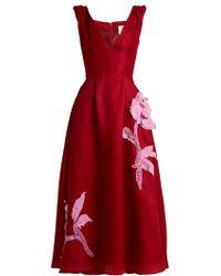 Carolina Herrera - - Floral Appliqué Silk Gazar Dress - Womens - Red Multi - Lyst