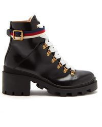 a2d8da17003e Gucci - Leather Ankle Boot With Sylvie Web - Lyst