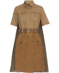 Kolor - Drape-Back Belted Cotton Dress - Lyst