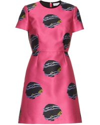Caterina Gatta - Virginia Woolf-print Satin Dress - Lyst