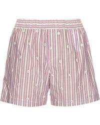 N°21 - Embellished Striped Cotton-poplin Shorts - Lyst