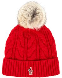 Moncler Grenoble - Fur-pompom Knitted Beanie Hat - Lyst