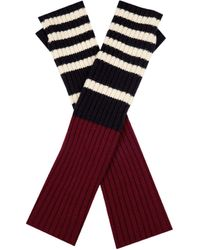 Marni - Striped Ribbed-knit Fingerless Gloves - Lyst
