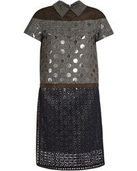 Kolor - Contrast-panelled Point-collar Short-sleeved Dress - Lyst