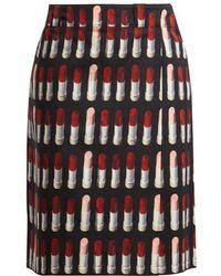 Prada - Lipstick-print Midi Skirt - Lyst
