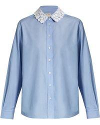 Trademark - Lace-collar Cotton-poplin Shirt - Lyst