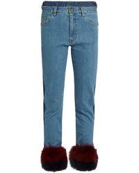 MUVEIL | Fur-panel Mid-rise Slim-leg Jeans | Lyst