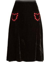 Jupe by Jackie - Almonaster Velvet A-line Skirt - Lyst