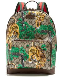 Gucci - Bengal Gg Supreme Canvas And Leather Backpack - Lyst