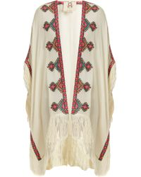 Figue - Iris Embroidered Wool Cape - Lyst