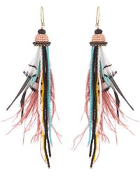 Etro - Bead And Feather-embellished Drop Earrings - Lyst