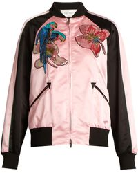 Valentino - Tropical Dream-appliqué Silk-satin Bomber Jacket - Lyst