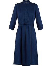 A.P.C. - Marion Stand-collar Twill Dress - Lyst