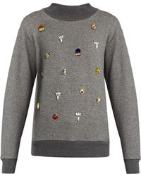 MUVEIL - Embellished Cotton-jersey Sweatshirt - Lyst