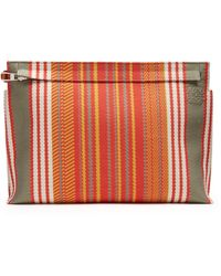Loewe - Striped Canvas Pouch - Lyst