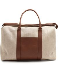 Brunello Cucinelli - Canvas And Leather Tote - Lyst