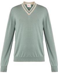 Orley - V-neck Stripe-trim Wool Jumper - Lyst