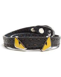 d8da4a2db191 Fendi - Bag Bugs Double-wrap Leather Bracelet - Lyst