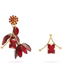 Marni - Crystal And Flower-drop Earrings - Lyst
