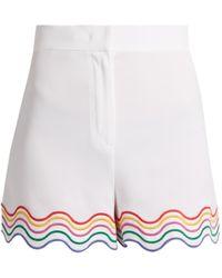 Sara Battaglia - Wave-embroidered Stretch-cady Shorts - Lyst
