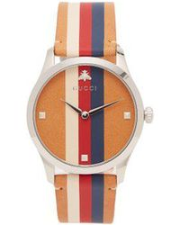Gucci - G-timeless Web-striped Leather Watch - Lyst