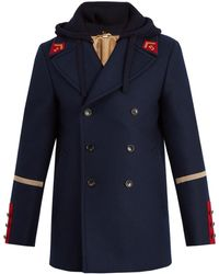 Gucci | Caban Detachable-hood Wool Coat | Lyst
