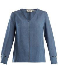 Cefinn - Contrast-piped V-neck Voile Blouse - Lyst