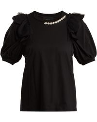 Simone Rocha | Embellished-neckline Cotton-jersey T-shirt | Lyst