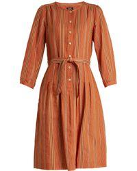 A.P.C. - Laly Striped Cotton-blend Dress - Lyst