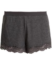 Stella McCartney - Lily Blushing Lace-trimmed Ribbed-jersey Shorts - Lyst