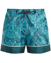 Mary Katrantzou - Rook Dragon-print Silk-twill Shorts - Lyst