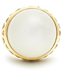 Theodora Warre - Moonstone, Garnet And Gold-plated Ring - Lyst